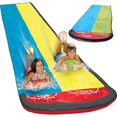 N/X Slide Surf Rider Double Sliding Lanes,20 ft Water Slide with Splash Sprinkler for Kids Children Summer Backyard Swimming Pool Games Outdoor Water Toys: Home & Kitchen