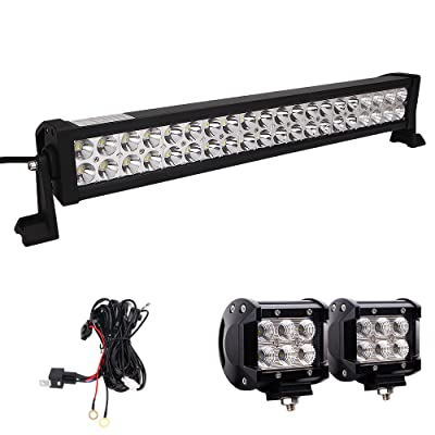 LED Light Bar, Northpole Light 22 Inch 120W Waterproof Spot Flood Combo LED Light Bar with 2PCS 18W CREE Flood LED Work Lights and 12V 40A Wiring Harness for Off Road, Truck, Car, ATV, SUV, Jeep …: Automotive