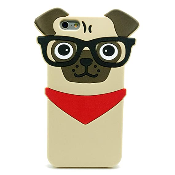 release date 61101 91f8b Iphone 7 Pug Case, Iphone 8 Pug Case, 3D Cute Cartoon Hipster Pug Dog  Silicone Case for Iphone 7 and Iphone 8 4.7inch Fashion Protective Cell  Phone ...