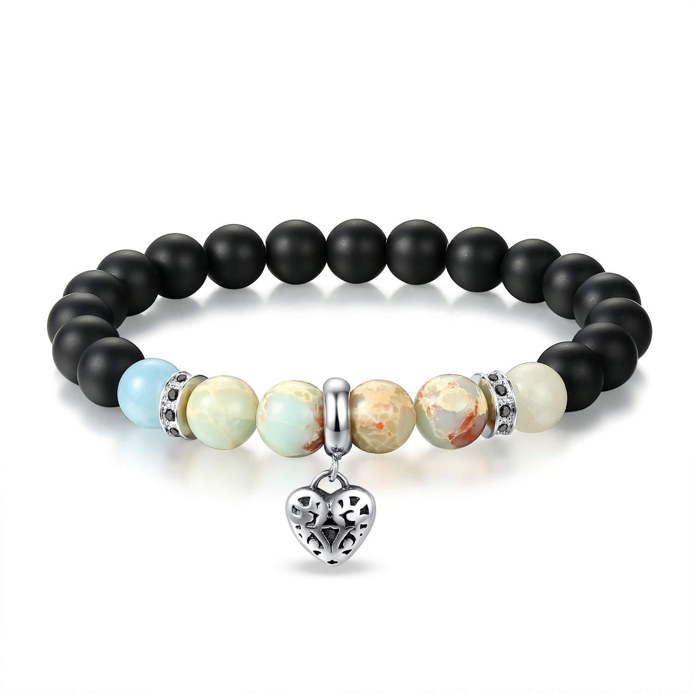 JSstudio Anxiety Bracelet, Crystals and Healing Stones Lava Rock Agate Therapy Energy Dainty Shamballa Heart Love Charm Prayer Meditation Beads Stretch Bracelets for Women Teen Girls, Charkra Bracelet