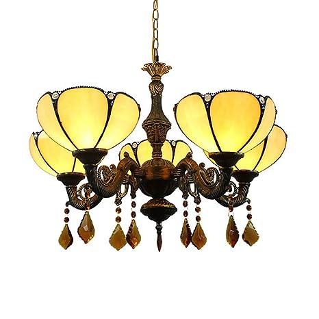HHRONG Araña de lucesPlafón de Estilo Tiffany, vidrieras ...