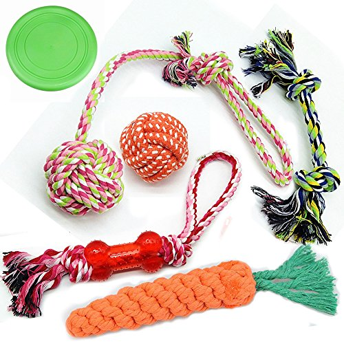 Large Dog Chew Toys for Medium & Large Dogs, 6 Value Pack Durable Dog Rope Toys with Knots Bones Balls Frisbee /Chew Plush Toys for Pets/Interactive Tug of War Outdoor Toys for Dogs (Pack Durable)