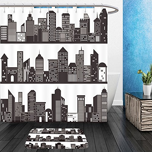 Vanfan Bathroom 2?Suits 1 Shower Curtains & ?1 Floor Mats cityscape and building silhouettes design 257943554 From Bath (Common White Girl Halloween Costume Ideas)