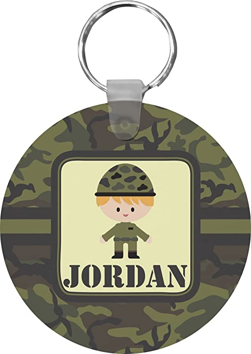 Green Camo Round Keychain (Personalized) at Amazon Women s Clothing store  c062195fb