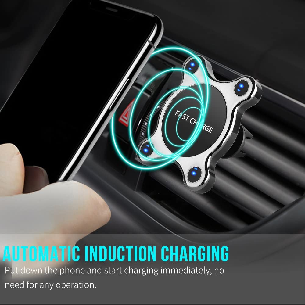 Magnetic Car Mount Holder for iphone X EooCoo Fast Wireless Car Charger 8// 8PLUS Samsung Galaxy S8// S7// S7 edge Note 8 or any QI enabled device,NH1