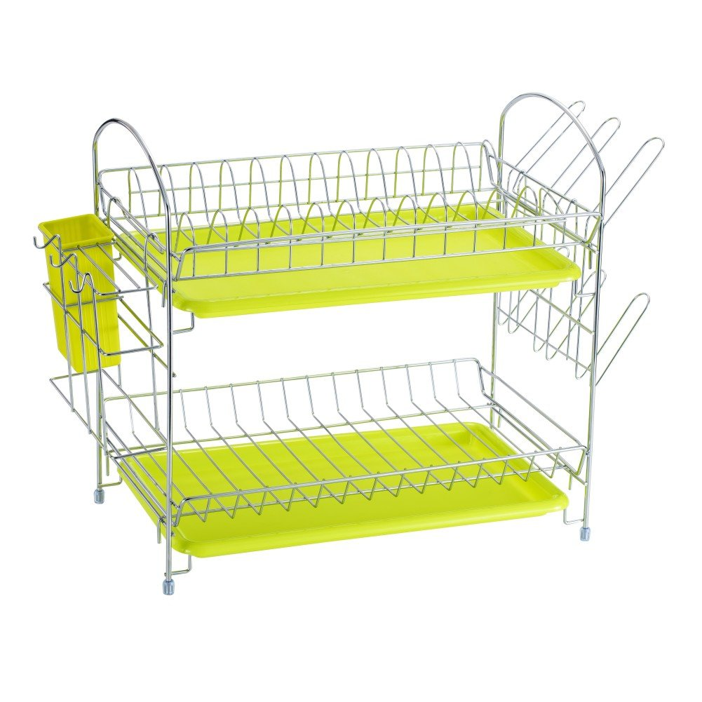 Dish Drying Rack Kitchen. Updated Version 2 Tier Dish Drainer Rack 19 inch Buckle Type Installation not Need Nuts Double Draining Tray Design Effectively Prevent Cross-Contamination. by WORTOOL (Image #2)