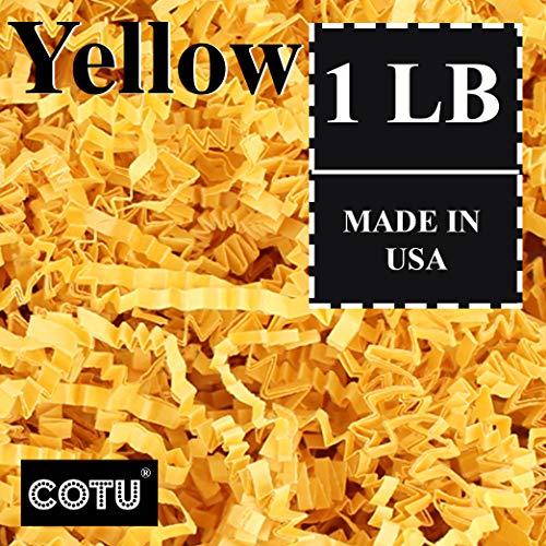 COTU (R) 1 LB Yellow Crinkle Shred Gift Basket Shred Crinkle Paper Filler Bedding (16 oz)]()