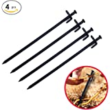 Tent Pegs Heavy Duty Stakes Peg Durable 4Pc 30Cm Tent Stakes Heavy-Duty Steel Solid Tent Stakes Pegs for Outdoors Mountain-Climbing Camping Hiking with Metal Stopper