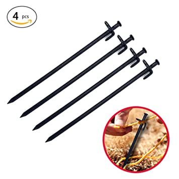 YDO 25cm Tent Pegs Heavy Duty Burly Forged Steel Metal Camping for Pack of 4