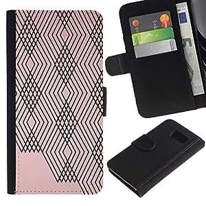 Planetar® Modelo colorido cuero carpeta tirón caso cubierta piel Holster Funda protección Para Samsung Galaxy S6 / SM-G920 ( Abstract Lines Plaid Peach Pink Black Pattern )