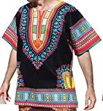 RaanPahMuang Brand Unisex Bright Black Cotton Africa Dashiki Shirt Plain Front, Large, Black Red
