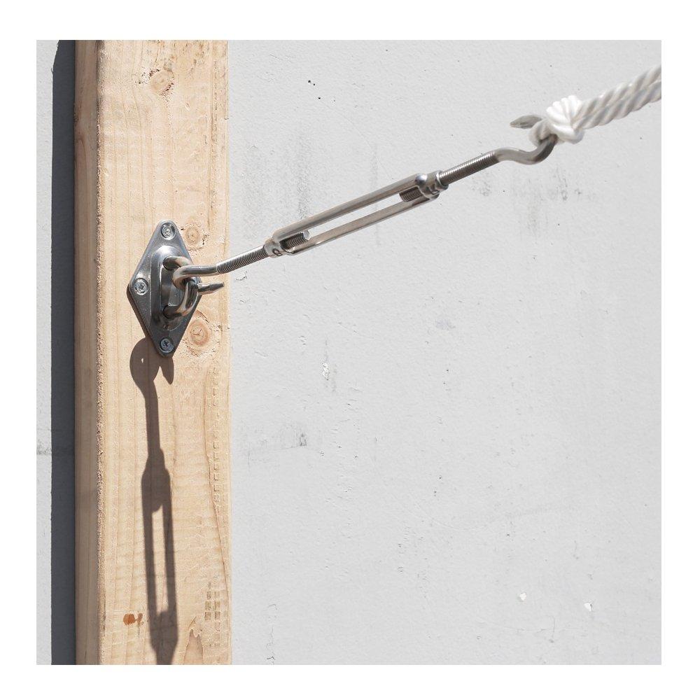 beststar Kit de Fixation Voile dombrage M5-24pcs Rectangulaire//Carr/é Voile dombrage dinstallation pour Pelouse de Terrasse Jardin #81540