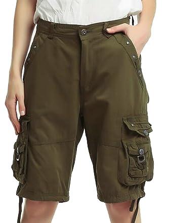 193562b94b UUYUK-Women Multi-Pocket Knee Length Cargo Pants Summer Shorts at Amazon  Women's Clothing store:
