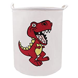 ZUEXT Red Dinosaur Laundry Basket 19.7x15.7 Inch,Dino Toy Bin,Collapsible Waterproof Canvas Dirty Clothes Hamper, Extra Large Fabric Lightweight Storage Basket for Boys Bedroom Baby Nursery Room