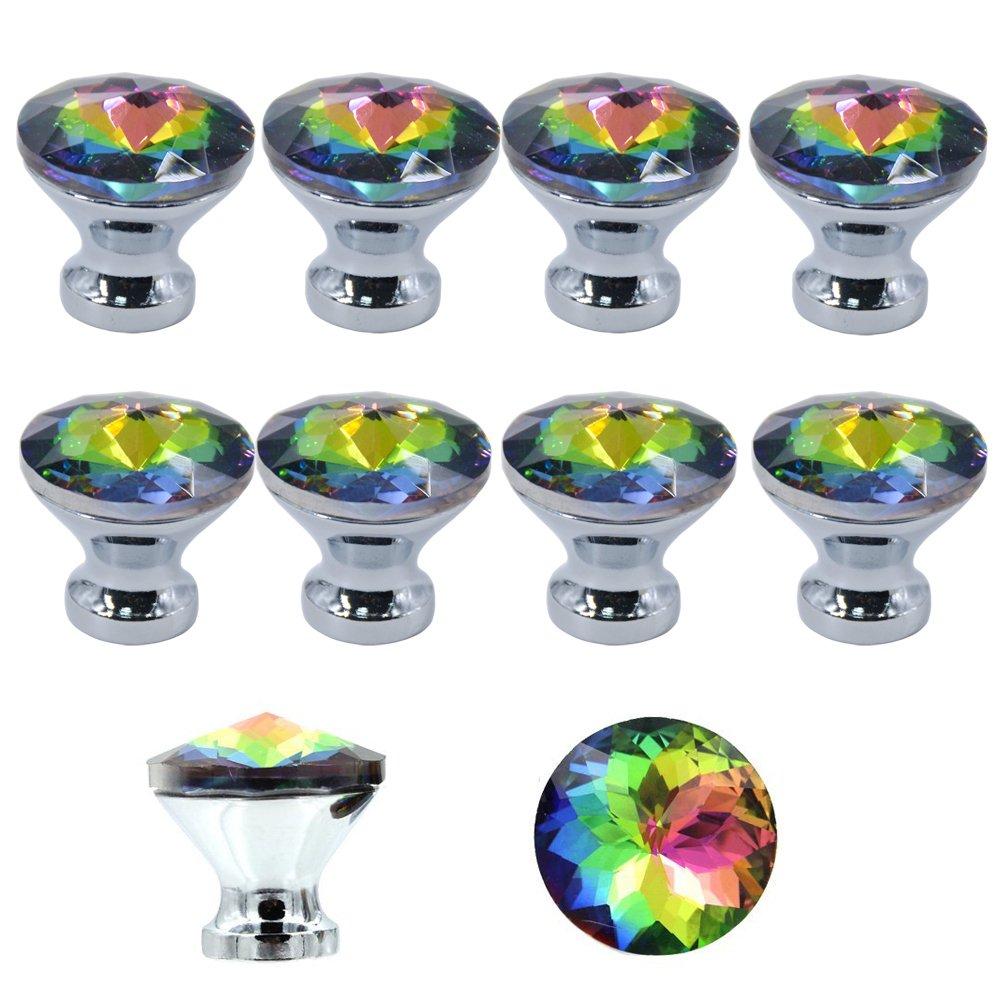 Tiradores MyArmor de cristal para puertas de armarios y cajones, de colores, 10 unidades MY08-B018YXRQNS
