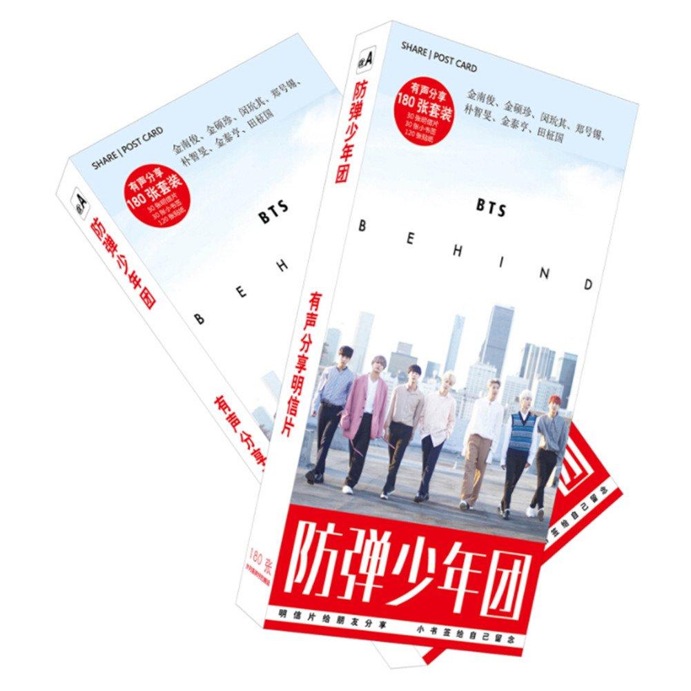 Yovvin KPOP BTS/EXO/TWICE Postkarte, 30 x Postkarten + 30 x Fotokarten + 120 x Aufkleber, Sammlung und Beste Geschenk für The Fans (BTS)