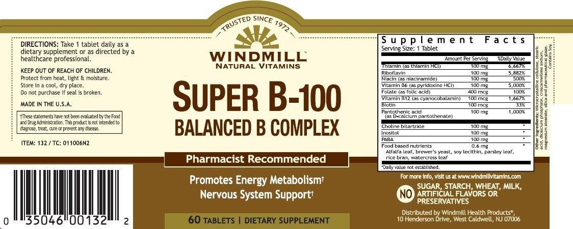 Vitamin B-100 COMPLEX TAB WMILL Size: 60