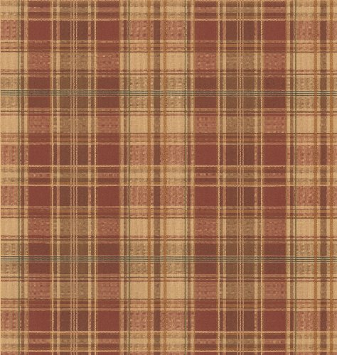 Plaid Wallpaper - Brewster 418-44600 New Country Tartan Wool Brick Plaid Wallpaper