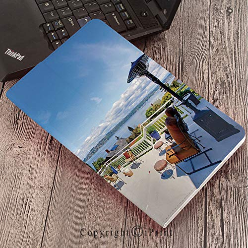 Samsung Tab S3 9.7 SM-T820 SM-T825 Tablet Case Protective Cover Crystal Case,Landscape,White Ancient House Terrace Balcony for Sunbathing Relaxing Sea Ocean Scenery,Multicolor