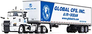 Mack Anthem Day Cab with 53' Dry Goods Trailer Global CFS, Inc. White and Blue 1/64 Diecast Model by DCP/First Gear 60-0821