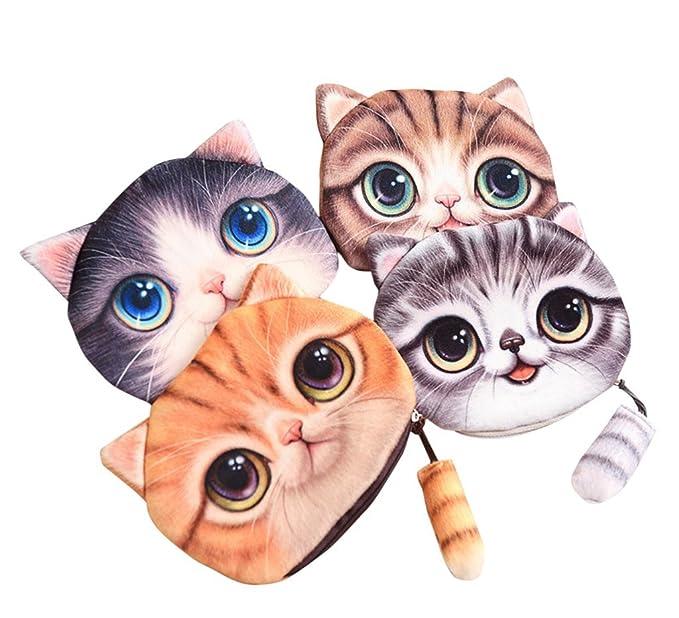 Amazon.com: drasawee Cute 3d cara de gato bolso poco dinero ...