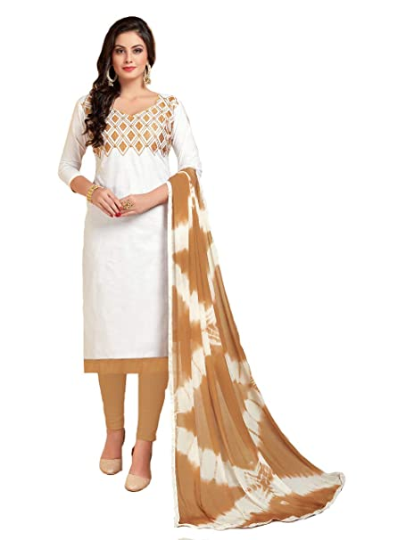 7cbfe64d2d Shree Ganesh Retail Womens Lone Cotton With Embroidery Churidar Material | Salwar  Suit | Salwar Kameez Unstitched Dress Material (WHITE & BEIGE 1001): ...
