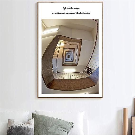 Cuadros Escaleras de caracol Carteles e impresiones Citas Cuadros de pared para sala de estar Cartel nórdico Escalera Decoración para el hogar Arte de la pared Lienzo Pintura-50x75_CM_UNframed_Red: Amazon.es: Hogar