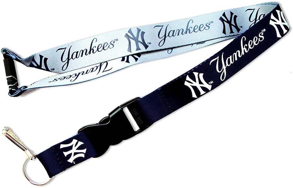 aminco MLB NY Yankees Reversible Clip Lanyard Keychain Id Ticket Holder