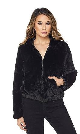 cea16bd65c8 Amazon.com: Black Plush Faux Fur Hooded Bomber Jacket (S-XXXL): Clothing