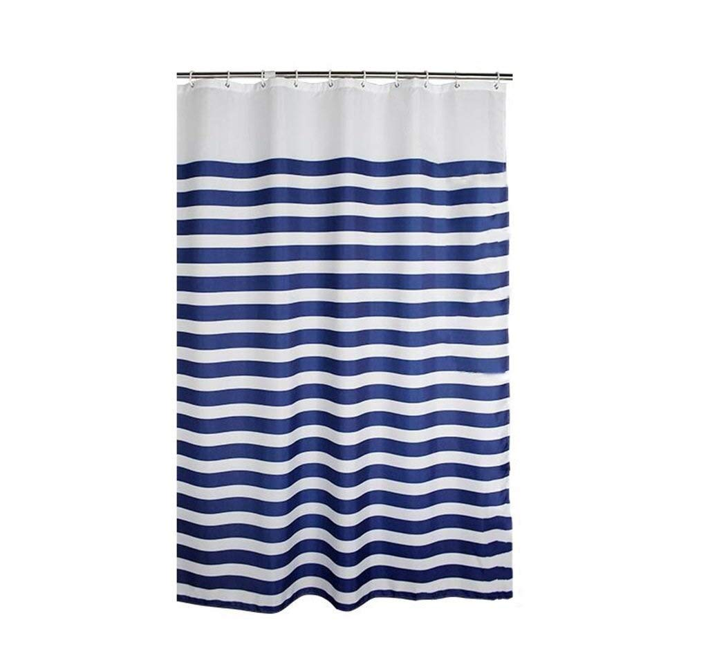 Thickening Shower Curtain,Blue Stripes Decoration Extra Long Waterproof Mildew Proof Polyester Cut Off - Plastic Hanging Ring/Hook (Color : Blue, Size : 200200cm)