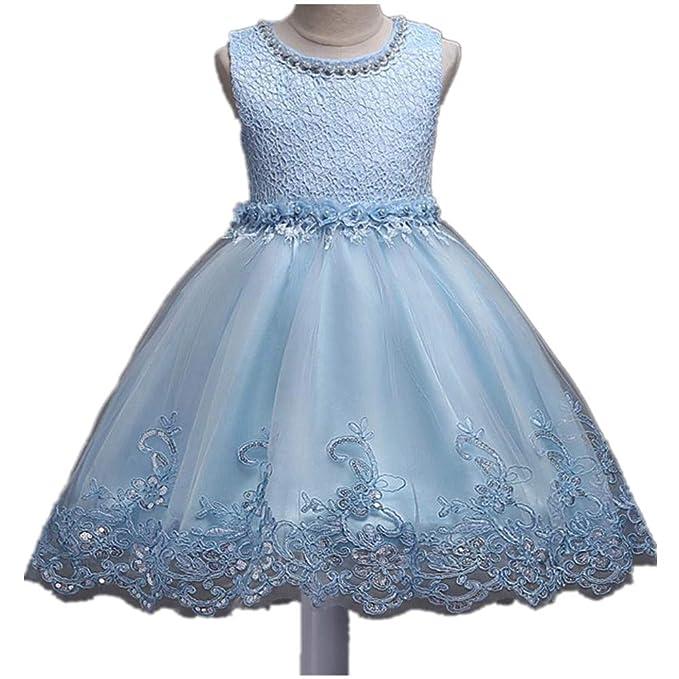 69b61d94f08 SUNNY Store Flower Girls Princess Wedding Dress Sleeveless Christmas Party  Dresses (Light blue-100cm