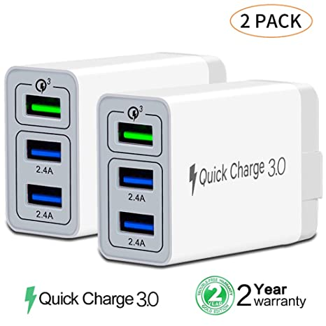 sale retailer 06c9d 72cc0 [ QC 3.0 + 2 USB ] Fast Wall Charger 3 Ports Tablet iPad Phone Charger  Adapter Qualcomm Quick Charge 3.0 Travel Plug Compatible iPhone X/Xs/XS ...