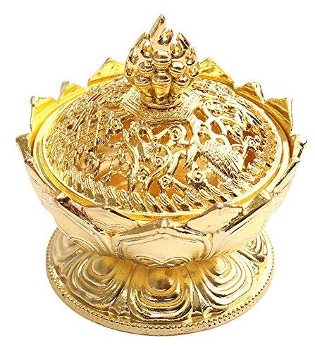 BleuMoo Chinese Lotus Gold Incense Burner Holder Flower Statue Censer Room Decoration