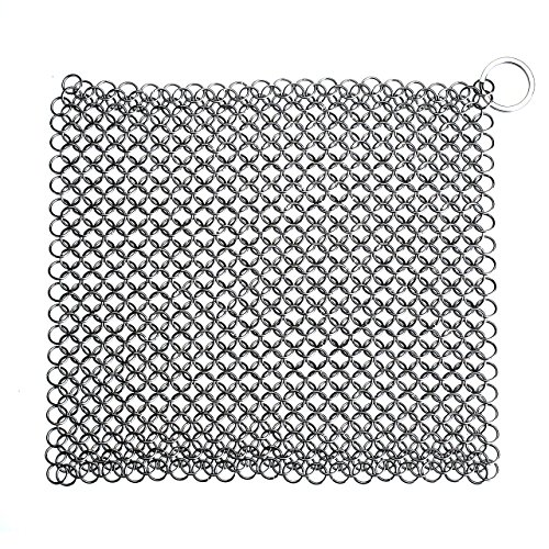 Pictek Cast Iron Cleaner, XL 8x8 Chainmail Scrubber [FDA Approved] Scratch Proof Close-knit Small Rings Stainless Steel Scrubber, Heavy Duty & Durable