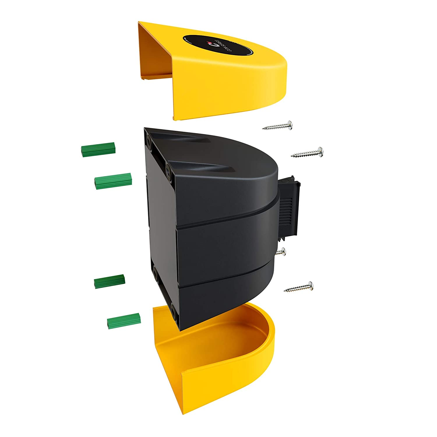 Fixed Wall Mount Retractable Belt Barrier with ABS Case-CCW Series WMB-220 15 Foot, Caution Do Not Enter Belt with Black ABS Case