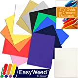 100% Authentic SISER EasyWeed Heat Transfer T-Shirt Vinyl Sample Pack, 12 Inch x 15 Inch Top 12-Color Assorted BUNDLE with TrueTack Carrier Sheet, and Heat Transfer Garment Guide by Swing Design