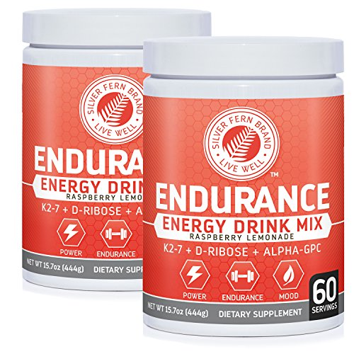 Silver Fern Brand Endurance - Pre Workout Energy Drink Mix Supplement Powder - Raspberry Lemonade - 2 Tubs = 120 Svgs - Boost Power, Energy & Mood - with D-Ribose, Alpha-GPC, Vitamin K2-7 & More (2)