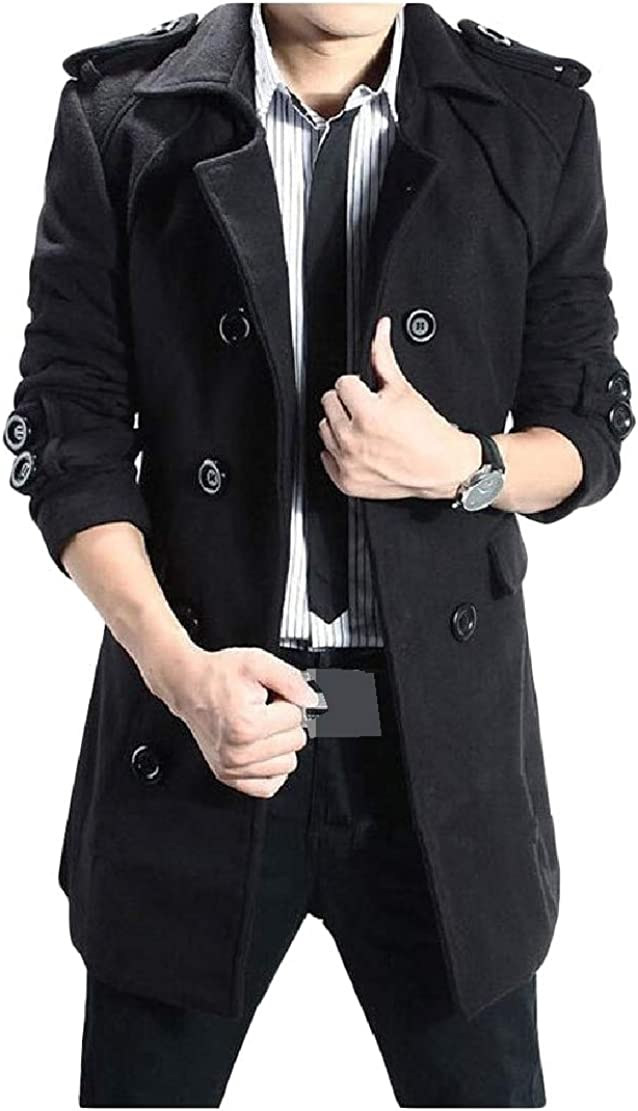 GloryA Mens Lapel Collar Double Breasted Outerwear Trench Coats