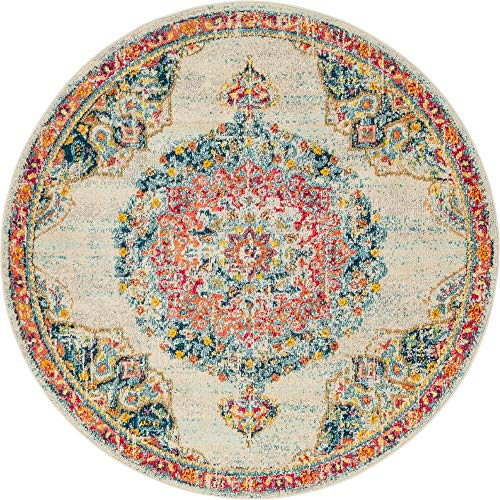 - Unique Loom Penrose Collection Traditional Vintage Distressed Lavender Round Rug (6' 0 x 6' 0)