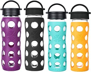 product image for Lifefactory 22oz. Glass Water Bottles with Classic Cap (Plum, Onyx) & 16oz. Glass Water Bottles with Classic Cap (Marigold, Sea Green)