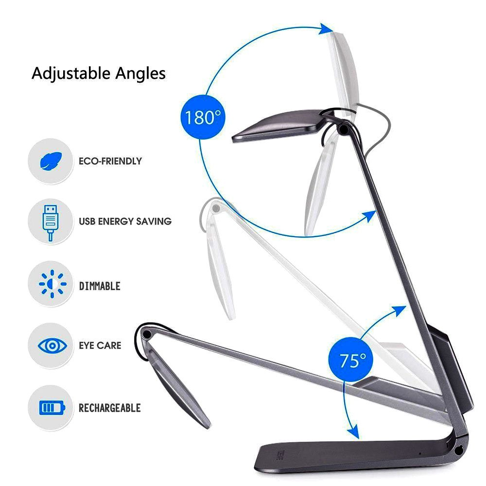Led Desk Lamp with Touch Control 3 Modes Adjustable Reading Lamps Eye-Caring Table Lamps USB Port Recharging Office Lamp Super Tiny Body Folding Style