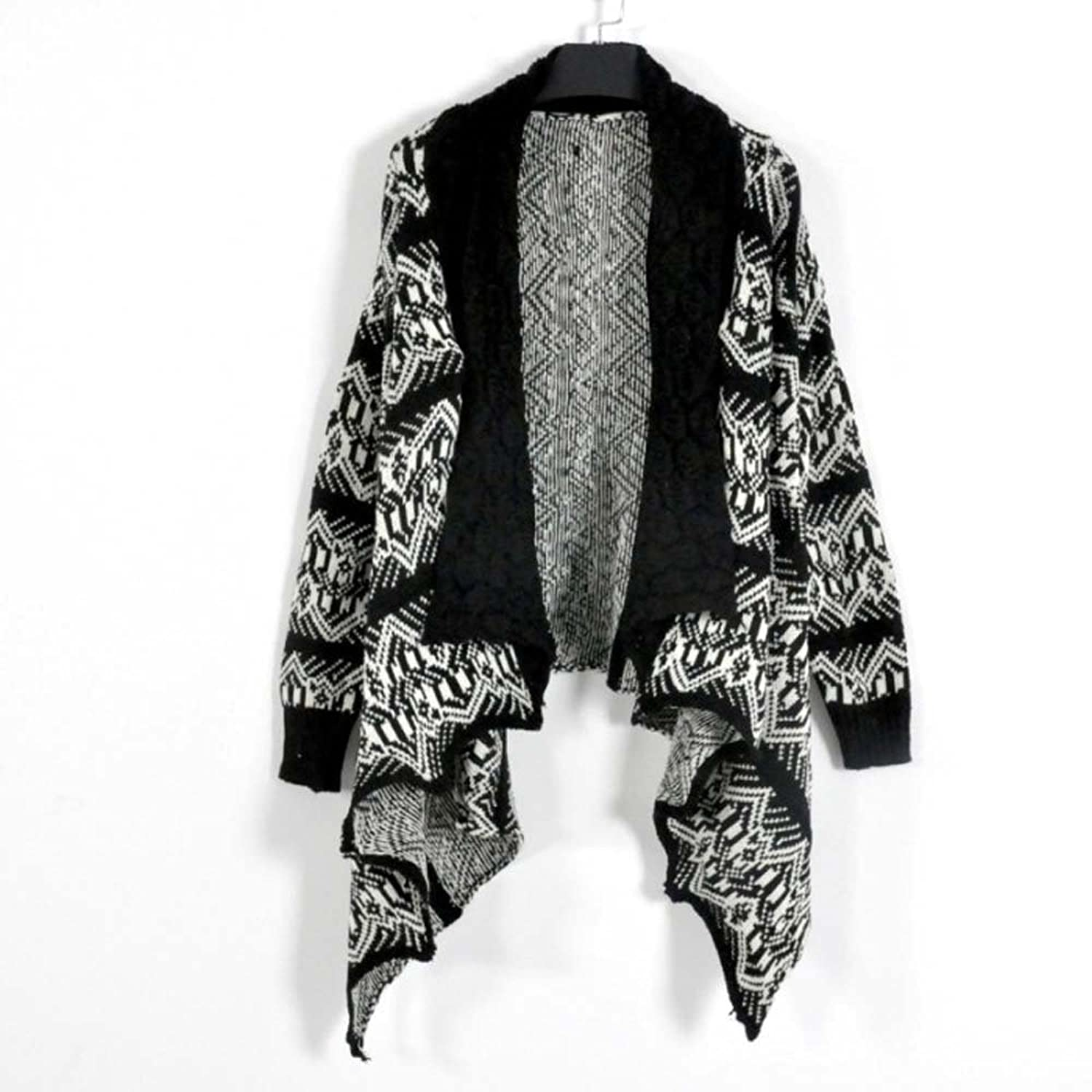 Piggy2gether - Women's Large Size Poncho Sweater Cardigan, Black and White