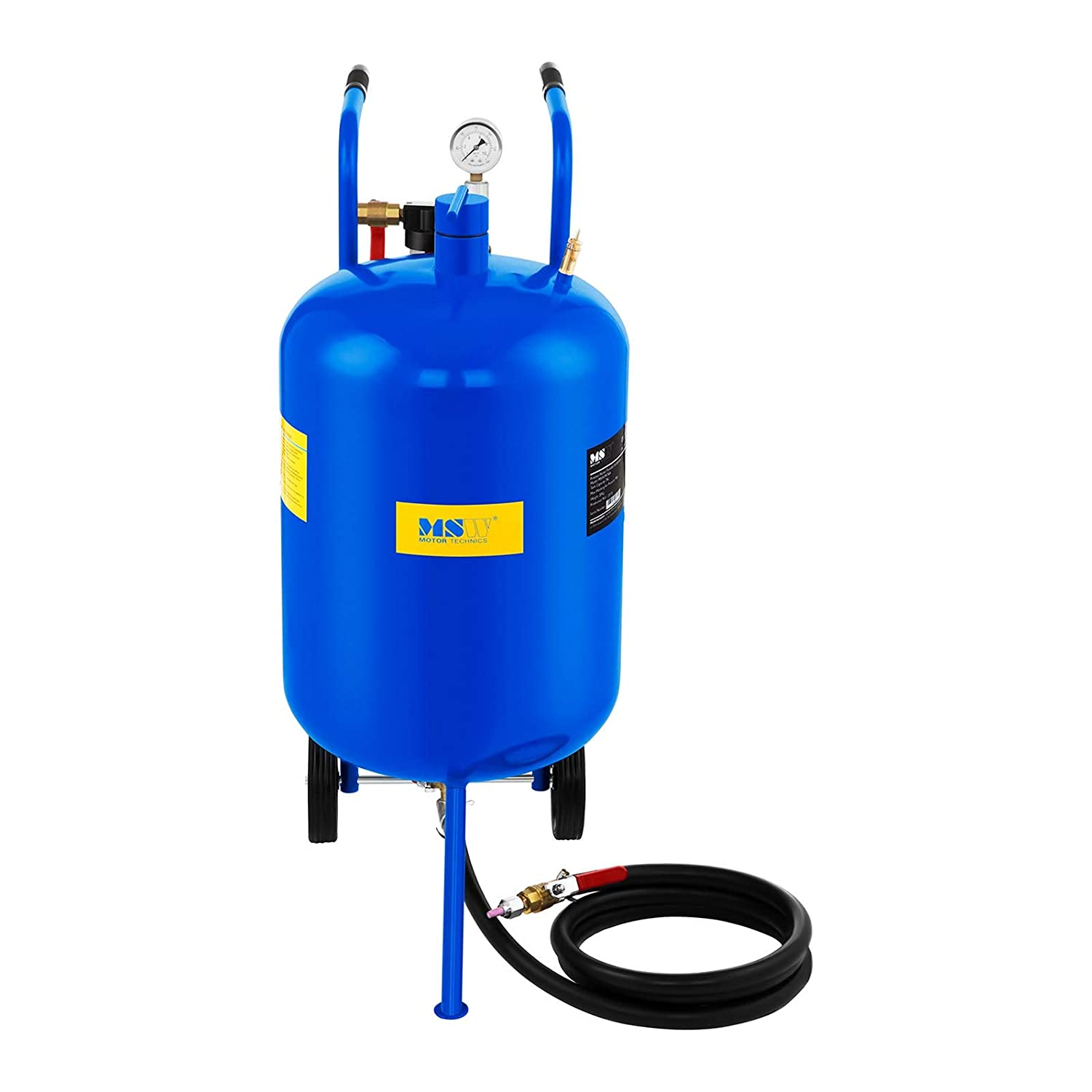 MSW Portable Sandblaster MSW-MS76A 76 L, Max. Working Pressure: 9 bar, 2.5 m Working Hose, Integrated Wheels, 4 nozzles