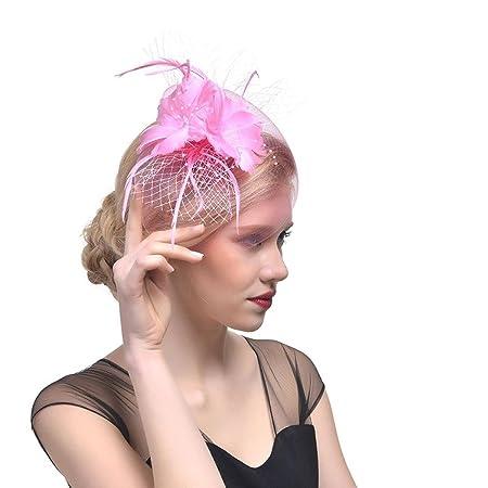 Sannysis Mujer Flor Cintas de malla Diadema Sombrero de Glamoroso Sombreros  Sombreros Sombreros Ropa Bodas Tea Party Sombreros de cóctel Horquillas  Tocado ... d678c2f9f460