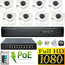 USG Sony High Definition Weatherproof EIGHT (8x) Camera 1080P PoE IP CCTV Kit: 1x 8 Channel NVR + 8x 1080P 2.8-12mm Vari-Focal PoE IP Dome Outdoor Cameras + 1x 9 Port PoE Switch + 1x 3TB HDD *** Affordable High Definition CCTV Video Surveillance!
