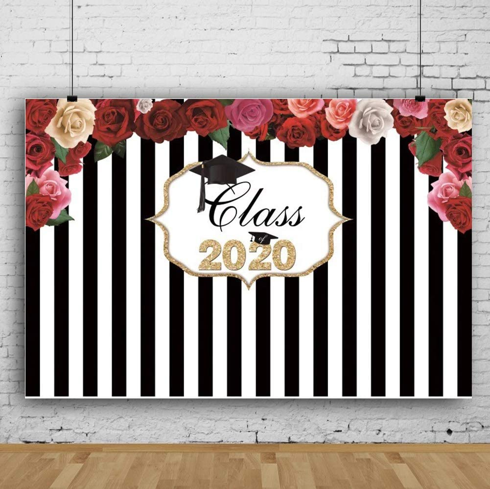 RBQOKJ 10x10ft Class of 2020 Banner Backdrop Red Roses Florals Decor Background Black White Strips Photography Background for Students Prom Party Shoot Studio Prop