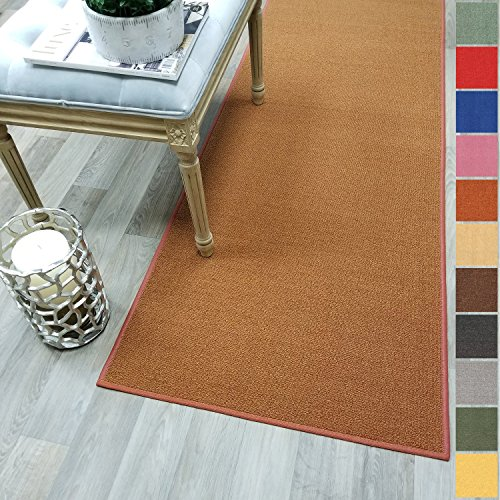 Custom Size Burnt-Orange Solid Plain Rubber Backed Non-Slip Hallway Stair Runner Rug Carpet 22 inch Wide Choose Your Length 22in X 6ft (Orange Burnt Rug Runner)