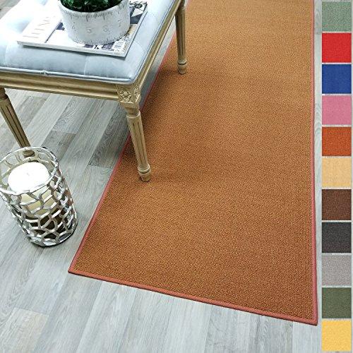 Custom Size Burnt-Orange Solid Plain Rubber Backed Non-Slip Hallway Stair Runner Rug Carpet 22 inch Wide Choose Your Length 22in X 6ft ()