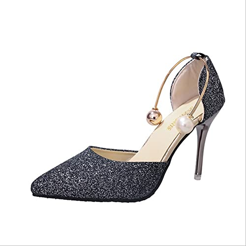 ff7a0fb00b GAOLIXIA Women's Shoes Leatherette Spring Summer Stiletto Heel Glitter  Buckle Pearl Footband for Wedding Dress Party