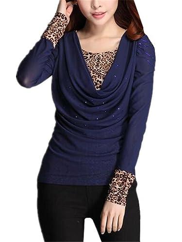 BESTHOO Camisetas Tops Para Mujer Costura Leopardo Sexy Elegante Fitness Camisetas Vintage Manga Lar...